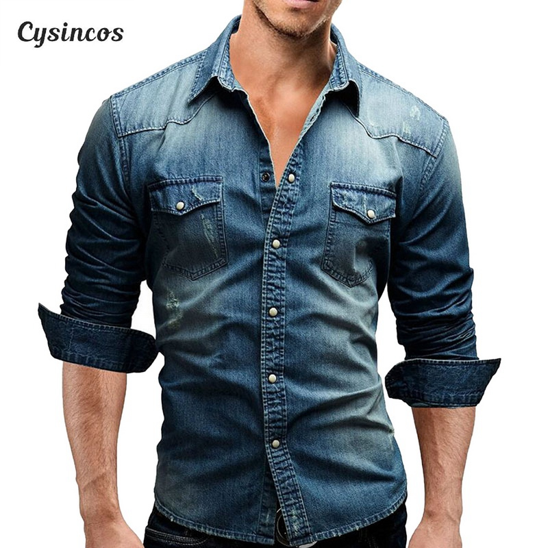 CYSINCOS Denim Shirt Men Cotton Jeans Shirt Fashion Autumn Slim Long Sleeve Cowboy Shirt Stylish Wash Slim  Tops Asian Size 3XL