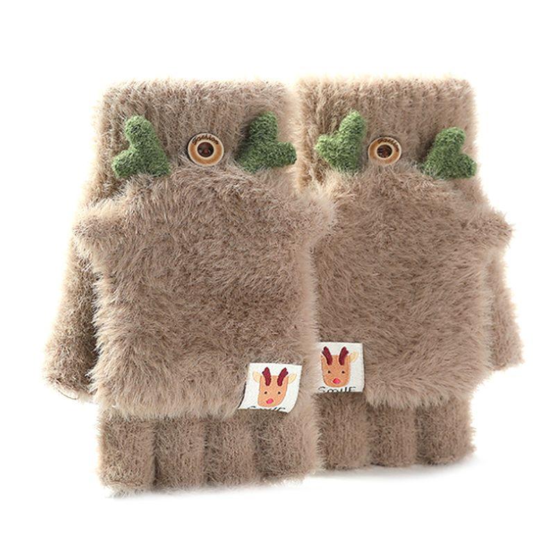 Womens Winter Plush Warm Fingerless Gloves Christmas Antlers Convertible Mittens