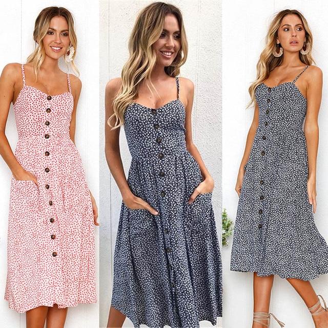 Boho Sexy Floral Dress Summer Vintage Casual Sundress Female Beach Dress Midi Button Backless Polka Dot Striped Women Dress2020  3
