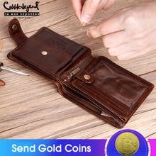 Cobbler Legend Genuine Leather Men Wallets Vintage Trifold Wallet Zip Coin Pocket Purse Cowhide Wallet for Mens Money Clip