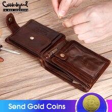 Schoenmaker Legende Echt Leer Mannen Portefeuilles Vintage Trifold Wallet Zip Coin Pocket Purse Koeienhuid Portemonnee Voor Heren Geld Clip