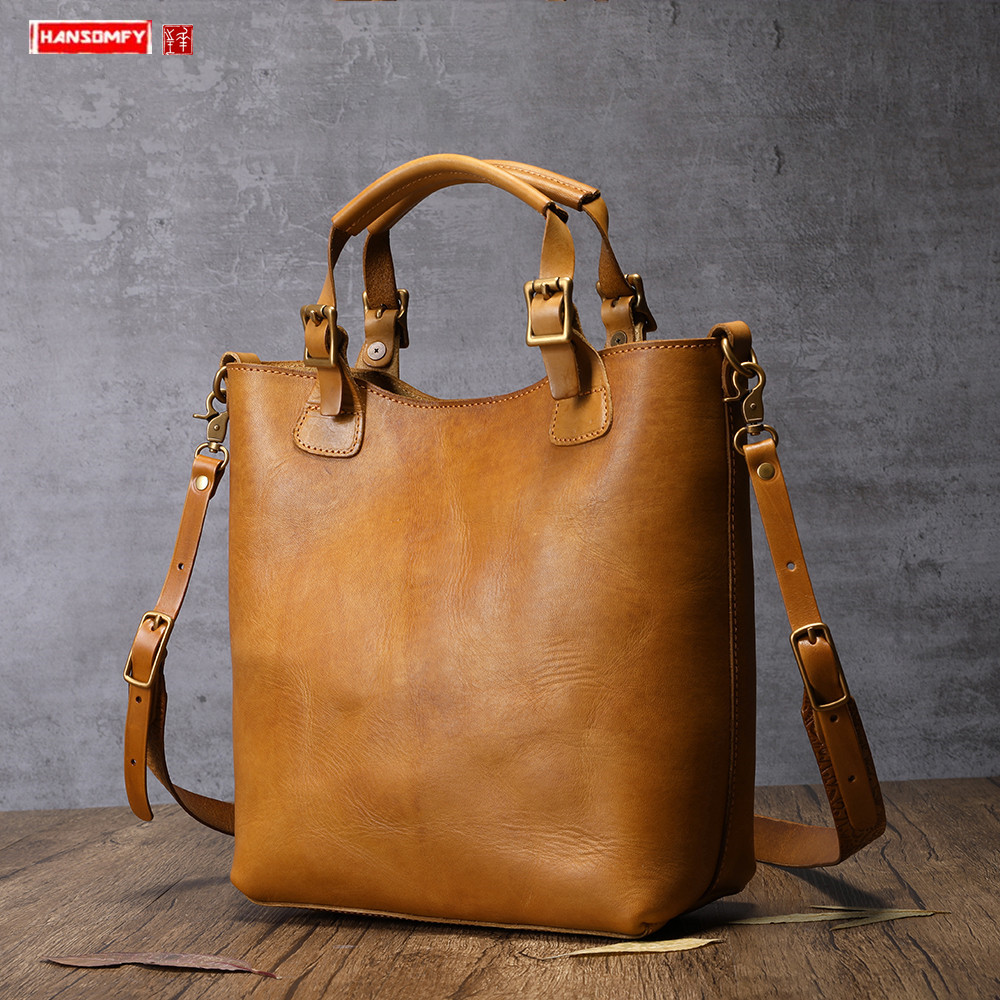 New genuine leather women handbags portable female briefcase vintage handmade leather shoulder diagonal bag leather tote bags