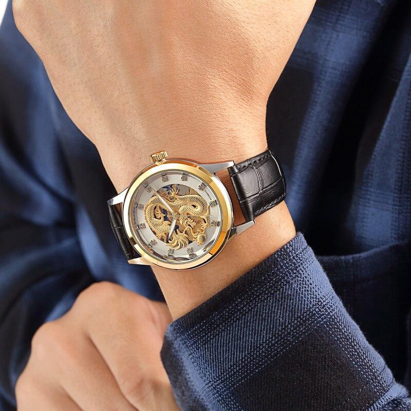 Mens Business Golden Dragon fully Automatic original Mechanical movement Watch High-grade Steel Waterproof wrist