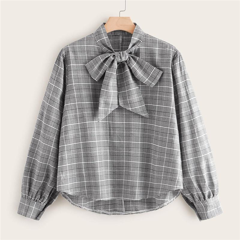 Plus Size Grey Glen Plaid Tie Neck Blouse