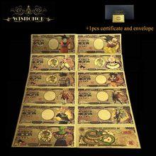 11 pçs/set Agradável Japão Dragão de Ouro Banknote 10,000 Yen Banknote em 24k Banhado A Ouro de Ouro Dinheiro Para A Coleta De