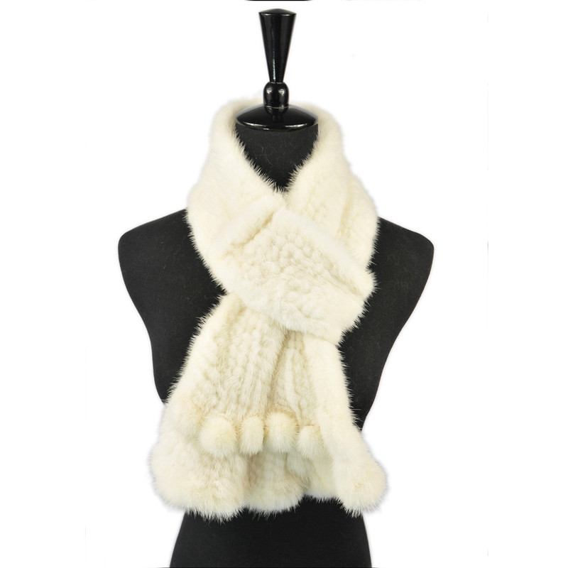 JKP 2019 Natural Mink Fur Scarf for Women Real Animal Fur Scarves Knitted Winter Warm Shawl Fashion Clothing Accessories