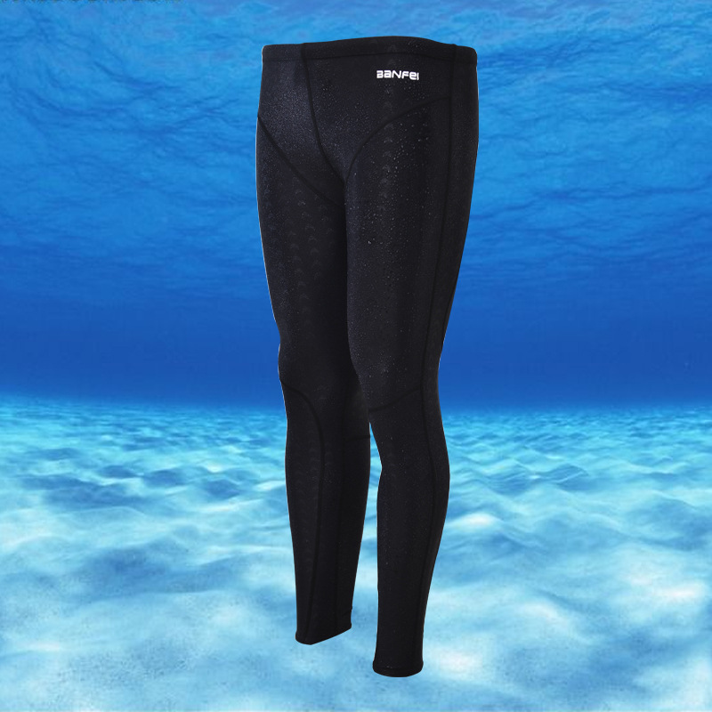 Waterproof Quick-Drying Sun-resistant Faux Sharkskin Long Legs Competition MEN'S Swimming Trunks Diving Surfing Capri Swimming T