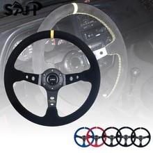 Evrensel 14 inç 350mm süet/PVC araba yarışı direksiyon s derin mısır sürüklenen spor direksiyon Logo ile