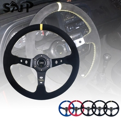 Universal 14 inch 350mm Suede/PVC Car Racing Steering wheels Deep Corn Drifting Sport Steering Wheel With Logo