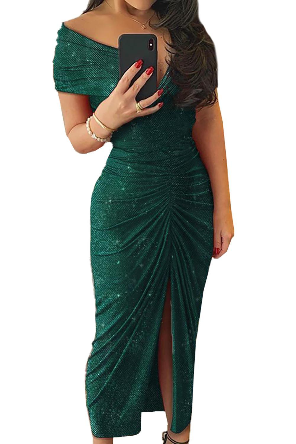 Green/Black Glitter V Neck Off Shoulder Ruched Slit Party Elegant Dress Women Short Sleeve High Quality Maxi Dresses Plus Size