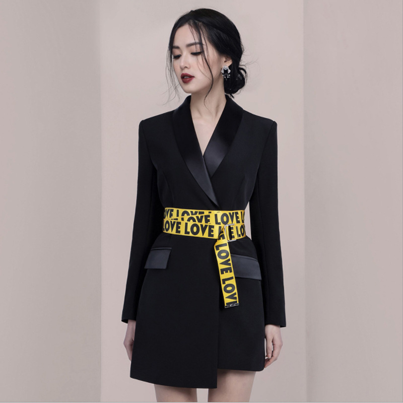Womens Blazer Dress Elegant Office Ladies Casual Blazer Black Long Sleeve Suit Jacket With Belt Autumn Fall Slim Dresses Clothes