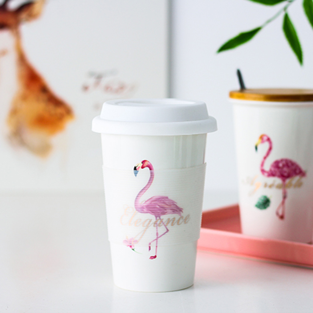 Flamingo Ceramics Coffee Mug With Silicone Lid White Large Capacity Milk Tea Drning Cups Portable Creative Office Drinkware Gift in Mugs from Home Garden