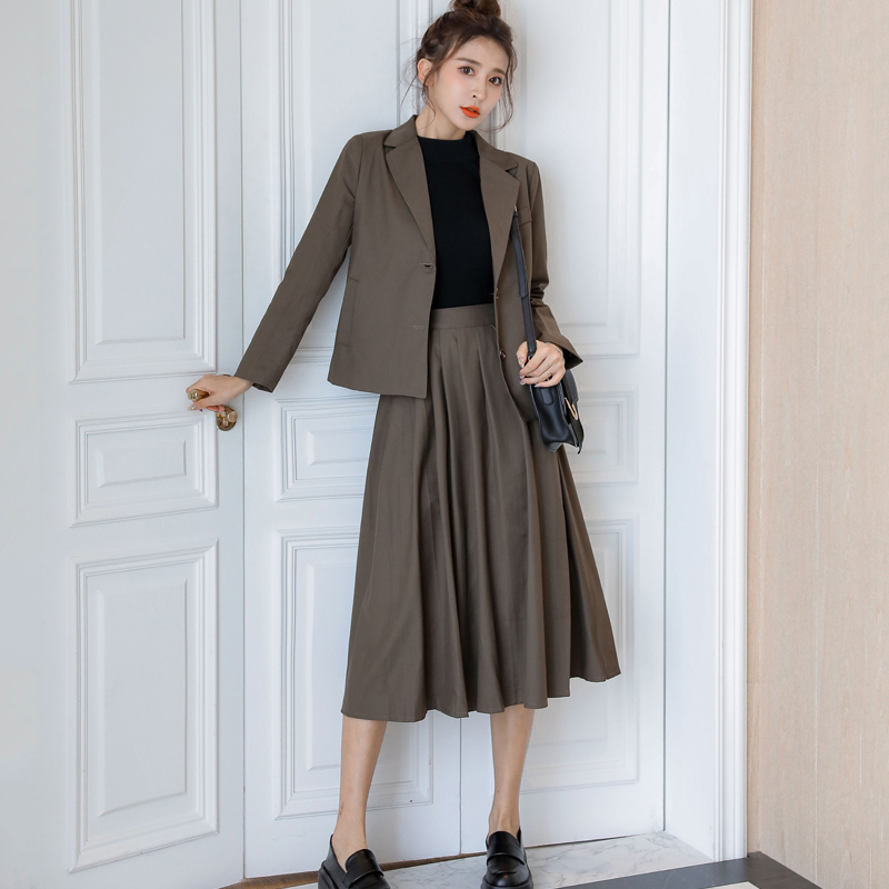 New Korean Women Pleated Skirt+Blazer Two-piece Suit Business Ladies Work Skirt Female Suits Single-breasted Suits