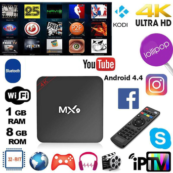 MX9 Network Player Network Set-top Box 4K Quad Core 1GB RAM 8GB ROM Android 4.4 TV BOX 2.0 2.4GHz WiFi Supports XBMC DLNA 3D-HD image