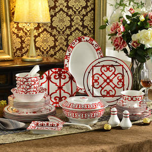 Bone China Dishes-Plates Dinnerware-Set Luxury Tableware Modern Iron Red for New House