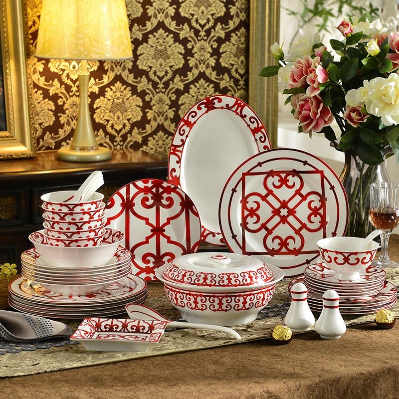 43 pièces de luxe en porcelaine rouge dîner ensemble accessoires de cuisine vaisselle os chine plat plat bol élégant mariage nouvelle maison cadeaux