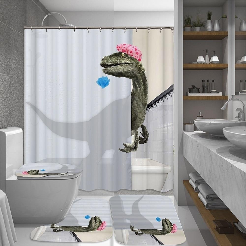 taking a bath dinosaur bathroom set shower curtain bath mat toilet pad sets non slip mats carpets toilet seat floor mat