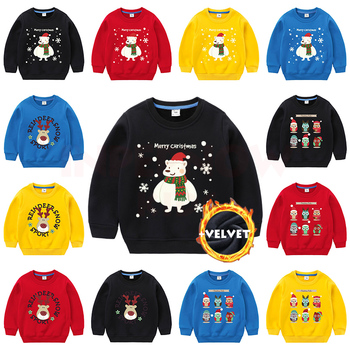 INPEPNOW Velvet Christmas Children's Sweatshirt for Girls Sweat Shirt Child Sweatshirt for Boys Baby Kids Hoodies Teens Clothes