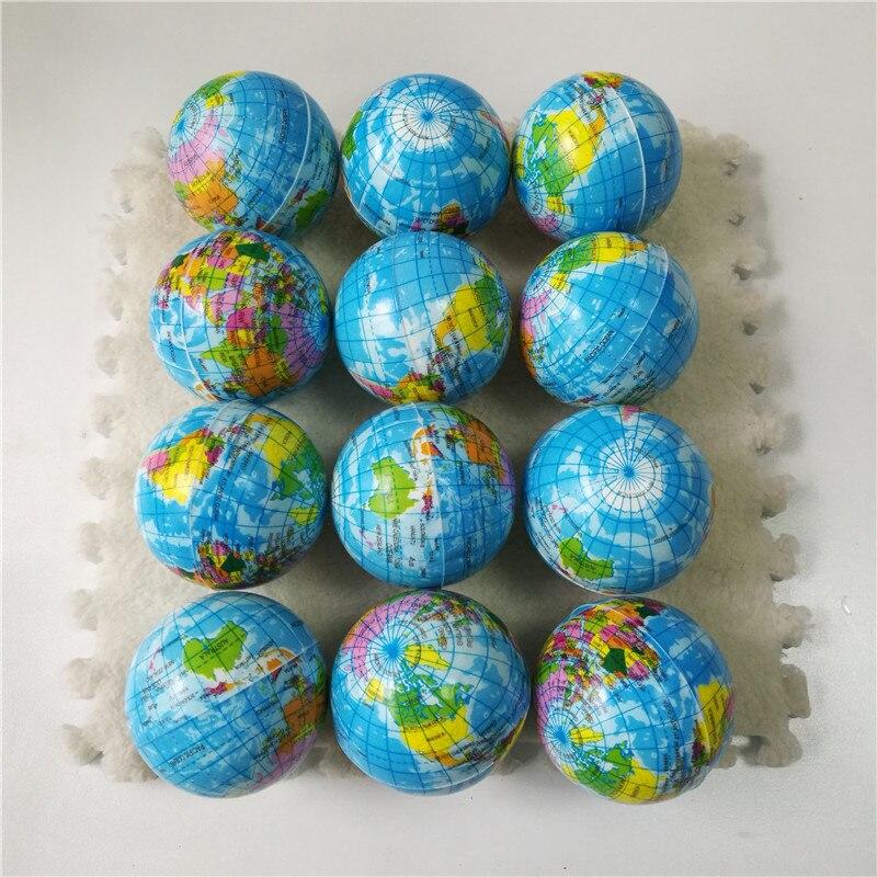 Anti Stress Relief World Map Foam Ball Atlas Globe Palm Ball Planet Earth Ball Toys For Children Girls Boys 63mm 12pcs