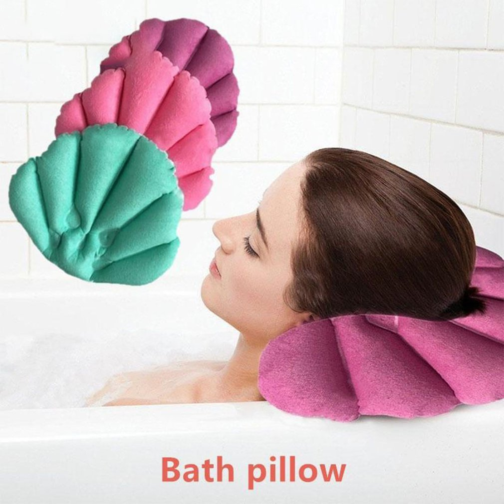 Breathable Non-Slip Cushioned Bath Tub Spa Pillow Bathtub Head Rest Pillow With Suction Cups For Neck And Back Bathroom Supply