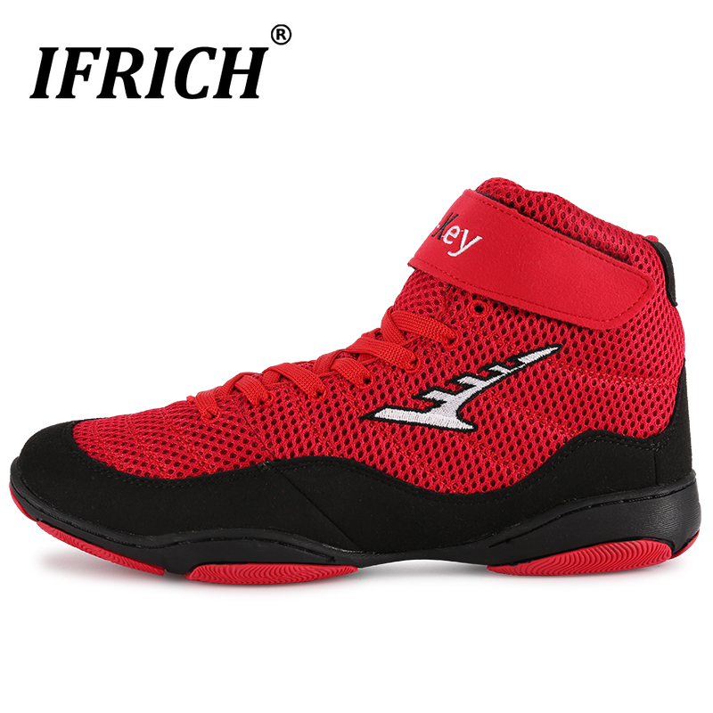 Men High Top Boxing shoes wrestling training Boots  Faux Leather Breathable