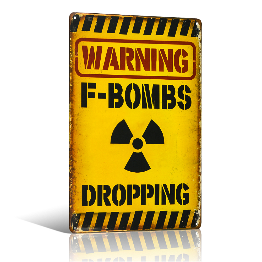 Waarschuwing F-Bombs Dropping Tin Metal Sign Funny Humor Office Dorm - Huisdecoratie