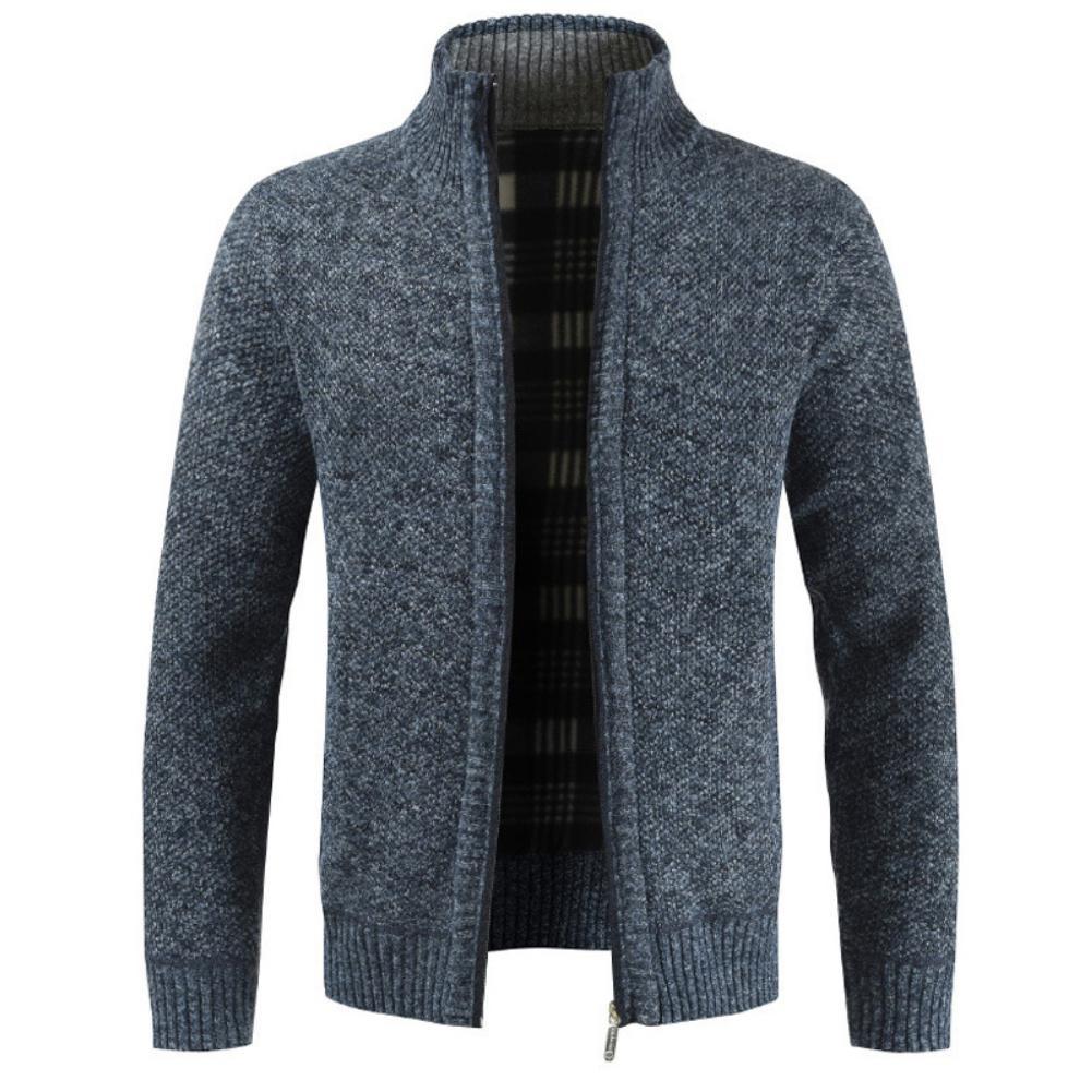 Autumn Winter Men Knitted Sweater Pockets Plush Liner Warm Slim Cardigan Coat 3