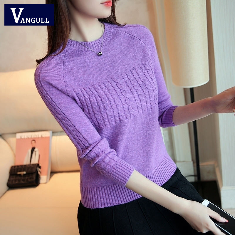 Vangull Women Sweaters Large Size Knitting Sweaters Autumn 2019 New Knitting Elasticity Pullover Harajuku Female Casual Sweater