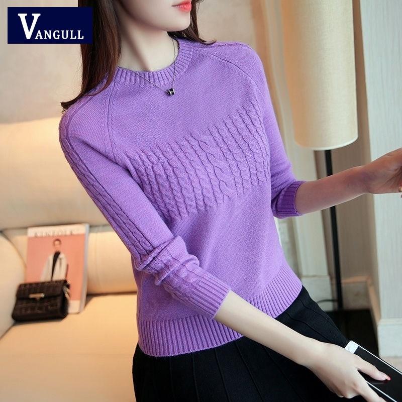 Vangull Women Sweaters Large Size Knitting Sweaters Autumn 2019 New Knitting Elasticity Pullover Harajuku Female Casual Sweater