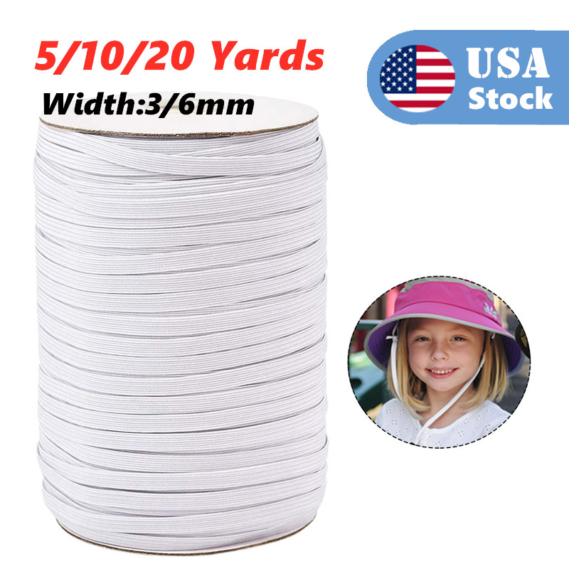 White 5/10/20 Yards Elastic Band Sewing 3/6mm Elastic Cord Rope Sewing Crafts DIY Mask Bedspread Cuff