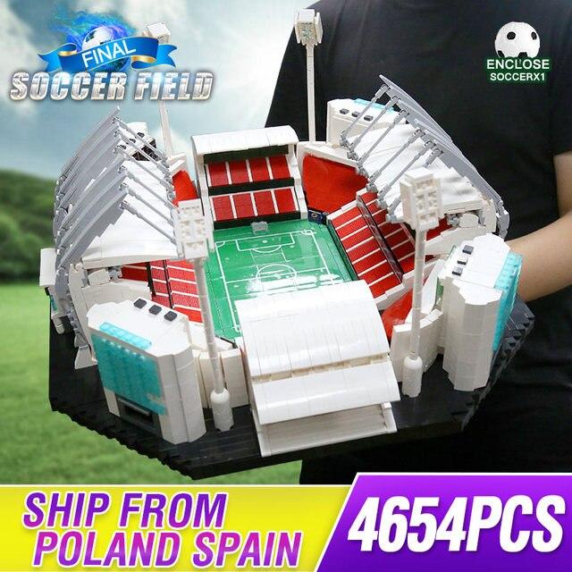 4654 sztuk klocki kreatywne zabawki stare tradifficates Manchesters boisko do piłki nożnej Model cegły zabawki edukacyjne dla dzieci urodziny prezenty