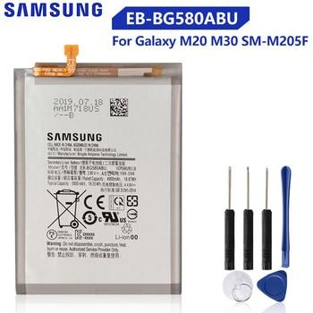 Original Replacement Battery EB-BG580ABU For Samsung Galaxy M20 M30 SM-M205F Genuine Phone Battery 5000mAh original samsung replacement battery eb ba715aby for galaxy a71 sm a7160 genuine phone battery 4500mah