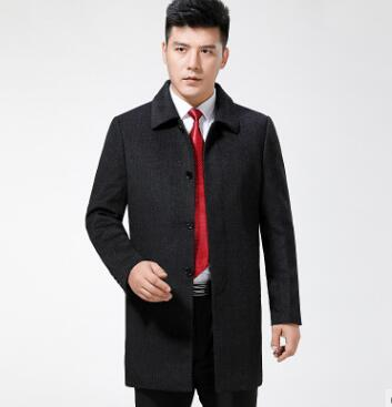 Winter New Long Woolen Woolen Overcoat Men's Coat Middle Aged Brand Cashmere Overcoat Father's Clothes
