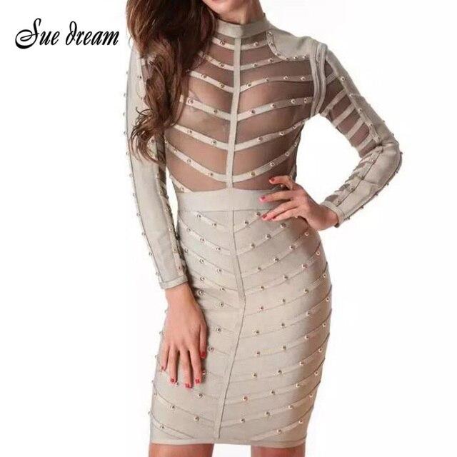 2020 sommer Perlen Mesh Sexy Frauen Sexy Bodycon Verband Kleid Lange Ärmel Kleider Rayon Schwarz Olivgrün Vestidos Großhandel