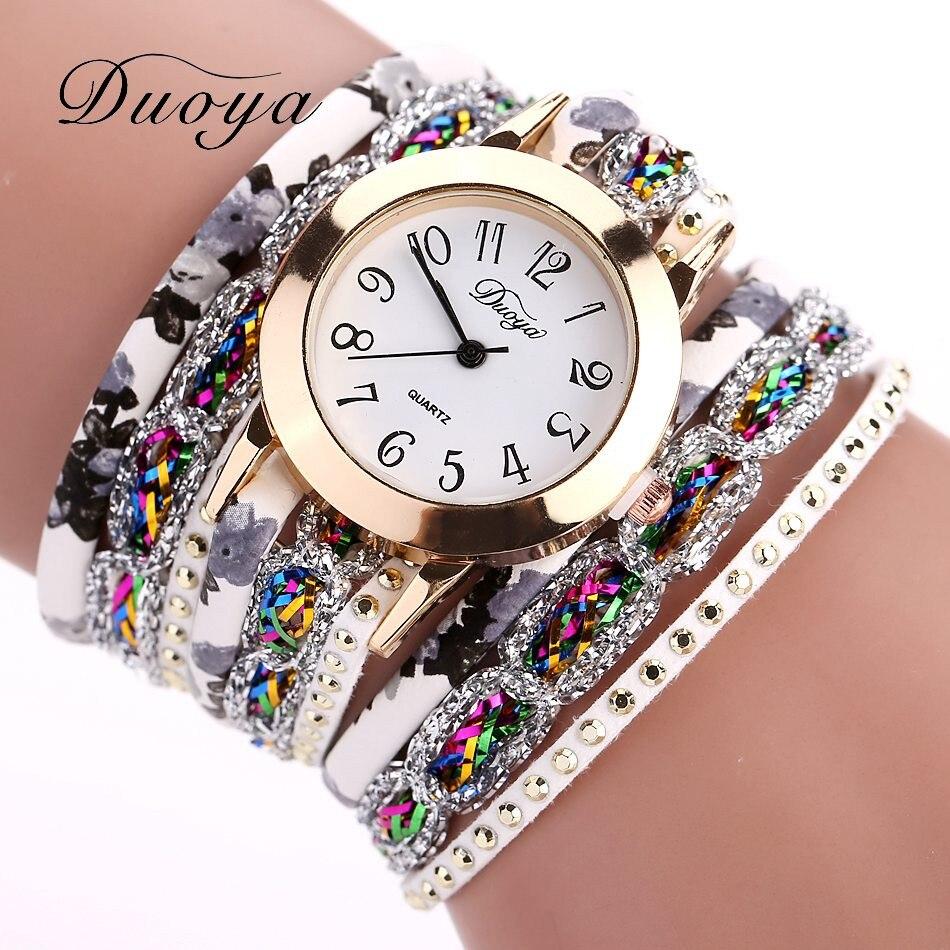 Watches Women Popular Quartz Watch Luxury Bracelet Flower Gemstone Leather Wristwatch Reloj Inteligente Mujer Clock