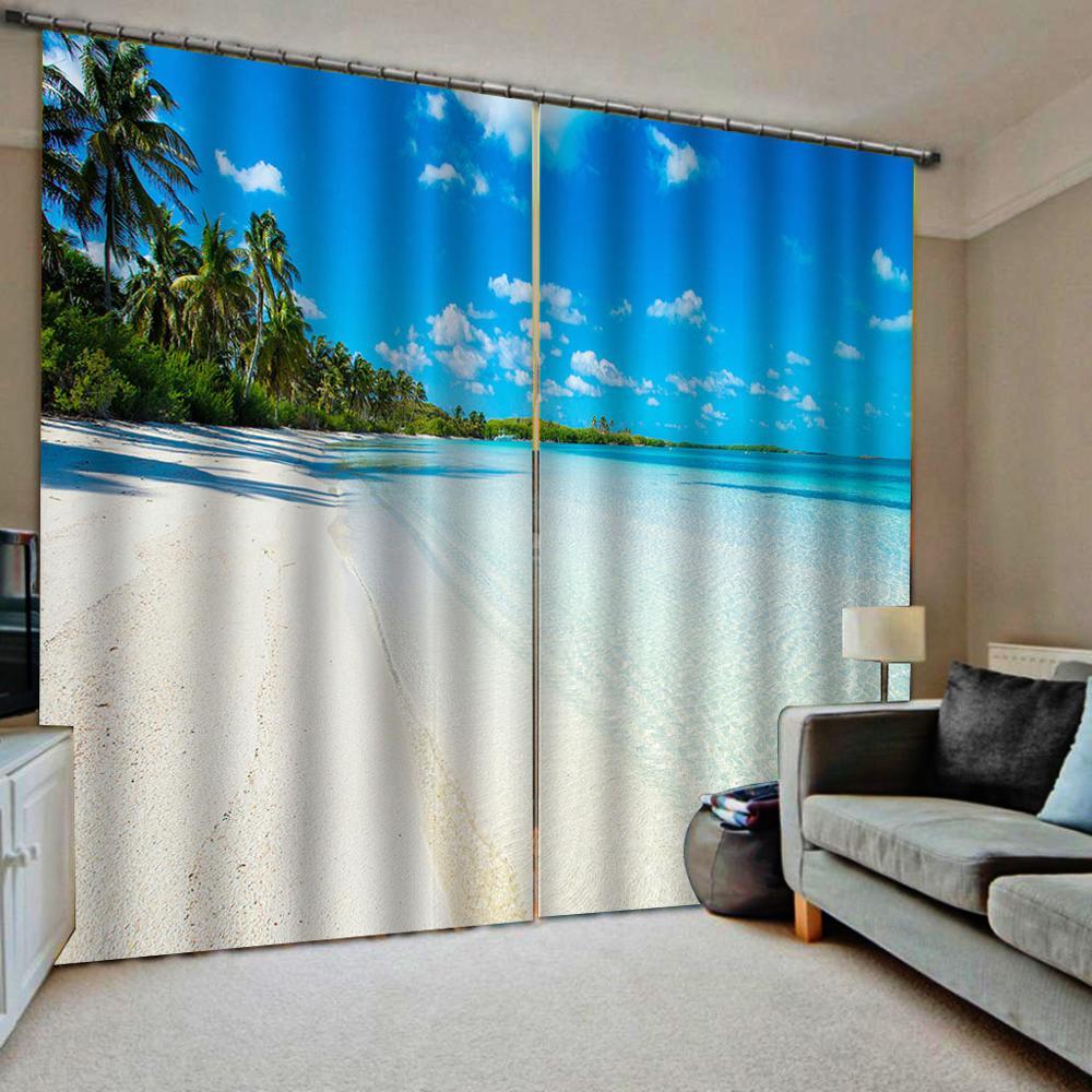 Blue Beach Curtains 3D Window Curtain Luxury Bedroom Drapes Cortina Customized Size