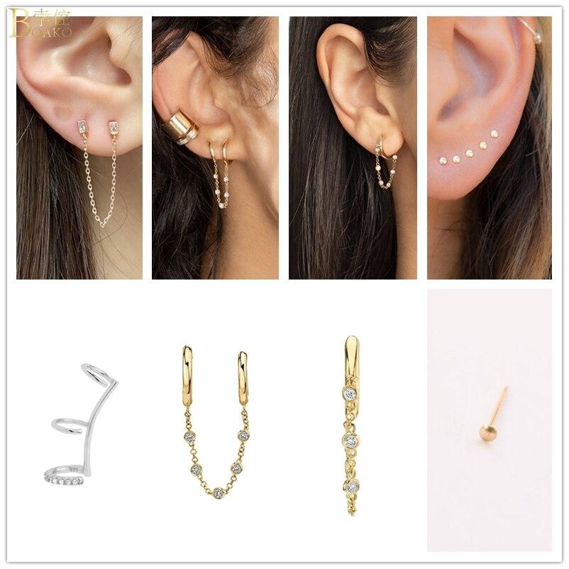 Women 925 Sterling Silver Earrings Tassel Chain Earrings Small Circle  Earrings For Wedding Engagement Piercing Jewelry