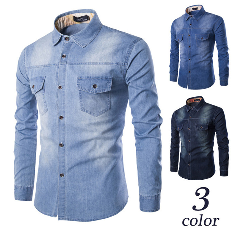 Fashion Mens Denim Shirt Long Sleeve Plus Size Cotton Jeans Cardigan Casual Slim Fit Shirts Men Two-pocket Tops Clothing M-6XL