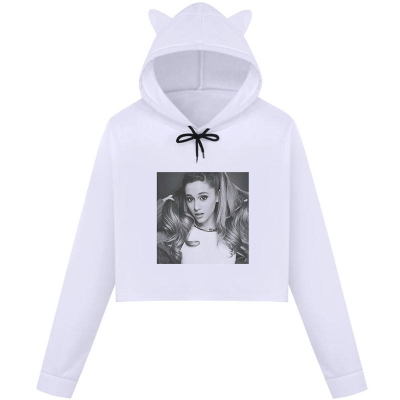 2019 Autumn New Hot Women Crop Top Hoodie Ariana Grande Gothic Print Kawaii Harajuku Hoodie Long Sleeve O-Neck Casual Sweatshirt