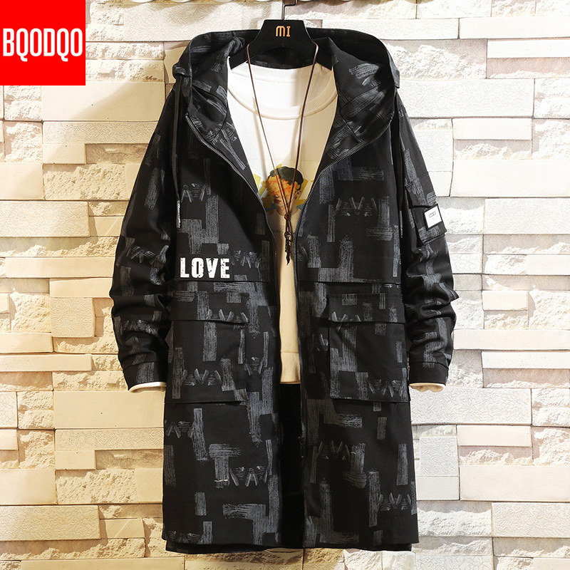 Autumn Oversized Long Trench Coat Men Black Hip Hop Military Loose Jacket Male Army Streetwear Japanese Windproof Casual Jackets