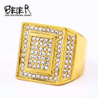 BEIER Classic Men Ring Hot Sale Vintage Retro Antique Gold Silver Square White AAA Resin Stone Iced out hip hop Ring R004
