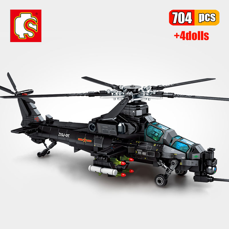 SEMBO 704Pcs Army Military Z-10 Armed Helicopter Building Blocks Swat Forces Plane Model Aircraft Bricks Toys For Christmas Gift