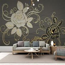 Custom 3d wallpaper mural modern gold embossed line drawing rose