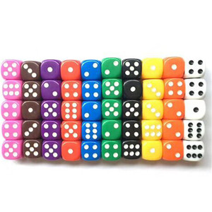 10Pcs High Quality 16mm Multi Color Six Sided Spot D6 Playing Games Dice Set Opaque Dice For Bar Pub Club Party Board Game