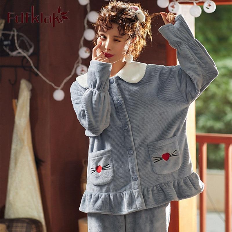Fdfklak Coral fleece pajamas autumn winter plus velvet warm pyjamas women fashion cartoon ladies flannel home wear pijama suit