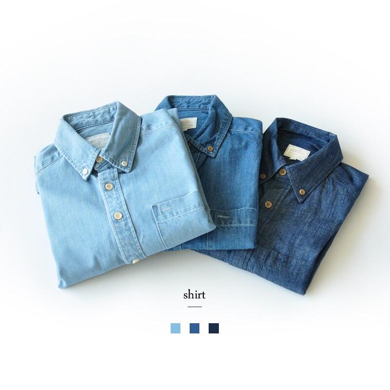 SauceZhan, oryginalny, klasyczny, Slim Koszula dżinsowa męskie z długim rękawem bawełna bawełna na co dzień mycia koszula koszule męskie dżinsy koszule w Koszule nieformalne od Odzież męska na  Grupa 1