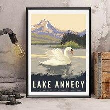 Alta-savoie lago annecy frança vintage viagens poster pintura em tela kraft posters revestido wallsticker arte impressão decoração casa presente