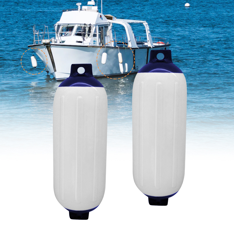 2 Pcs UV Protected Boat Fender Vinyl Ribbed Inflatable Bumper Marine Dock Shield Protection PVC 11 X 40cm For Yacht Speedboat