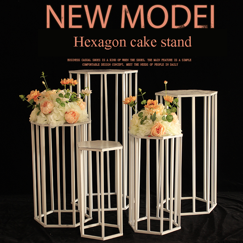 Wedding party christmas decorations for home backdrop metal iron hexagon cake dessert table stand centerpiece stand decoration