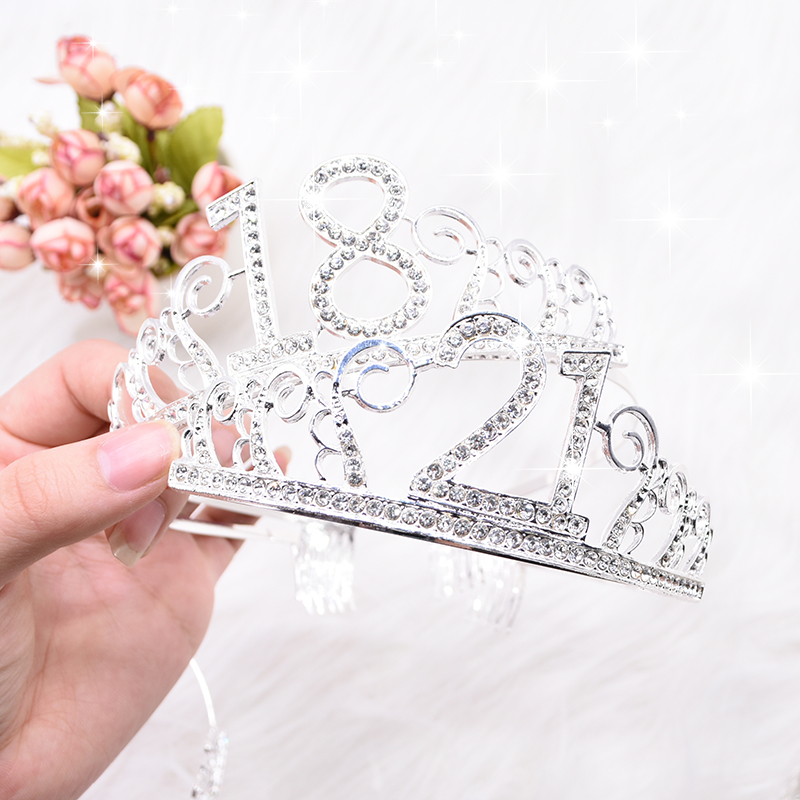 1pc Women Birthday Crown Silver Rhinestone Tiara Crown Headband for 18 21 30 40 50 Year Old Birthday Decoration Hair Accessories-3